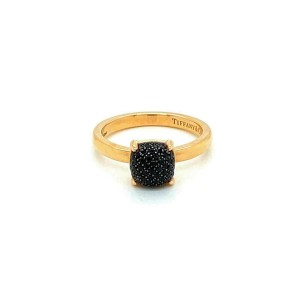 Tiffany & Co. Picasso Sugar Stacks Mini Black Spinel Gems 18k Rose Gold Ring