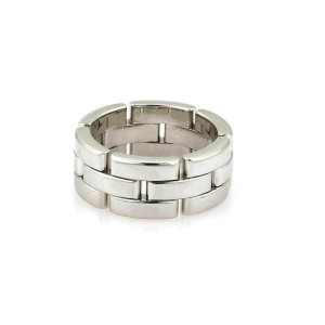 Cartier Maillon Panthere 18k White Gold Band Ring Size 50 w/Paper