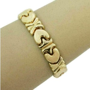 Hearts X Design 13mm Wide Flex 14k Yellow Gold Cuff Bracelet