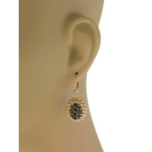 Pasquale Bruni Black Quartz 18k Rose Gold Oval Beaded Dangle Earrings