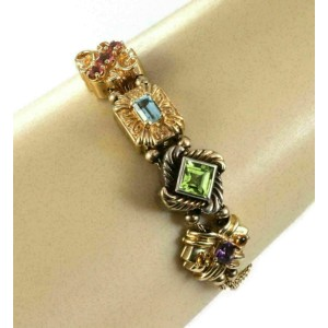 Multicolor Gems 4 Charms Double Chain 14k Gold & Serling Bracelet