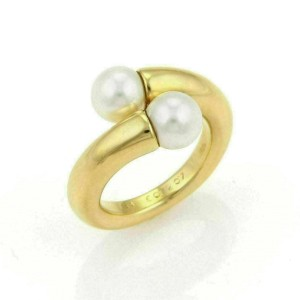 Cartier Toi et Moi Akoya Pearls 18k Yellow Gold Bypass Ring Size 54