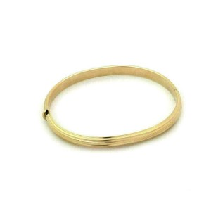 Roberto Coin 18k Yellow Gold Grooved Oval Hinged Bangle