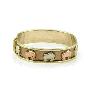 Wide 9k Tri Color Gold Carved Elephant Bracelet