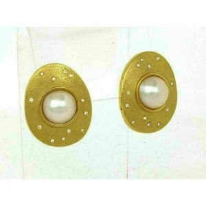 Mabe Pearls & Diamonds 18k Yellow Gold Textured Post Clip Earrings
