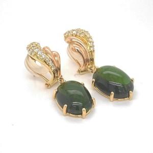 Diamond & Green Tourmaline 18k Yellow & Rose Gold Dangle Earrings