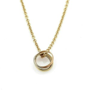 Cartier Trinity 18k Tri-Color Gold Ring Pendant on Chain w/Paper