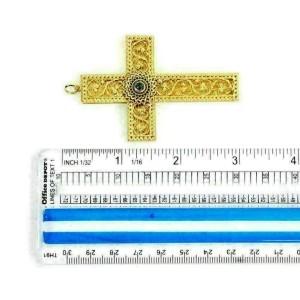 Vintage 18k Yellow Gold Blue Topaz Large 3D Filigree Cross Pendant