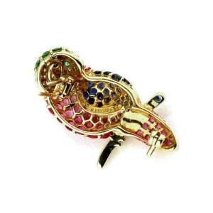 Le Vian Diamond & Gems 18k Yellow Gold Owl Pendant Brooch