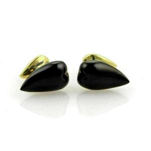 Tiffany & Co. Peretti Almond 18k Yellow Gold Onyx Stud Cufflinks