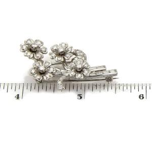 Vintage Diamond & Solid Platinum Spinning Floral Spring Brooch Pin