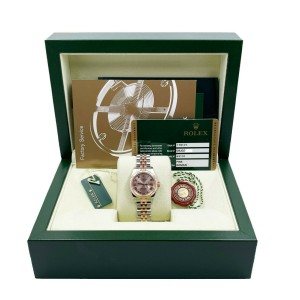 Rolex Ladies Datejust 179171 Pink Roman Dial 18K Rose Gold Stainless Box Papers