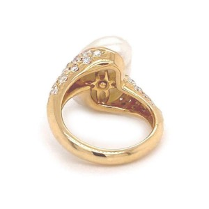 Mikimoto Diamond Akoya Pearl 18k Yellow Gold Ring