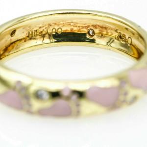 Hidalgo Pink Footprints Band with Diamonds 18k Yellow Gold Ring