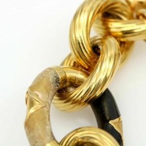 Gaston Lebo Enamel Oval Link Statement Bracelet in 18k Yellow Gold