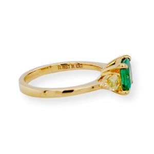 1.10 CT Zambian Emerald & 0.46 CT Diamonds in 18K Yellow Gold Engagement Ring