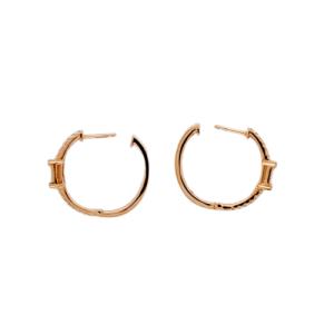 0.53 CT Diamonds in 14K Rose Gold 20 mm Height Hoop Earrings