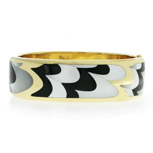 Auth TIFFANY & CO, 18K Gold Mother of Pearl Black Jade Inlay Bracelet Bangle
