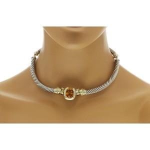 "Auth David Yurman 925 Silver 14K Gold Amethyst Citrine Choker Albion Necklace16"""