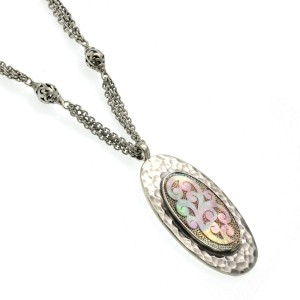 Auth Lois Hills 925 Sterling Silver Mother of Pearl Scroll Hammered Necklace