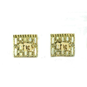 Judica Chai Textured Fancy Square Top 14k Yellow Gold Cufflinks