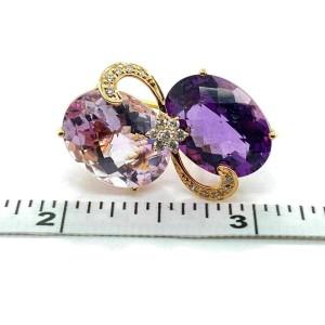 Designer Diamond Amethyst & Pink Quartz 14k Gold Fancy Floral Post Clip Earrings