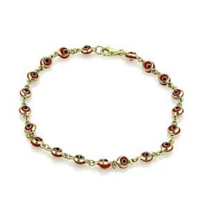 Red Enamel Good Luck Eye 14k Yellow Gold Bead Bracelet