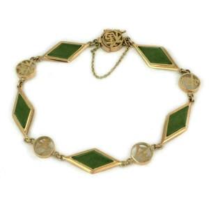 Jade 14k Yellow Gold Oriental Style Rhombus Link Bracelet
