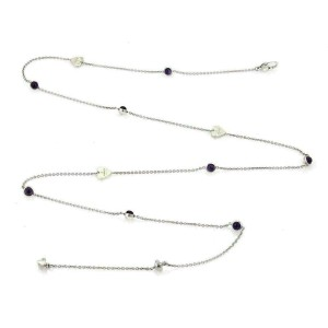 Gucci Amethyst Sterling Silver Hearts & Dots Long Chain Necklace