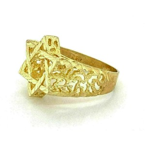 Star of David Diamond Cut Design 10k Yellow Gold Ring