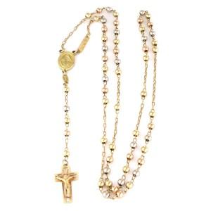 Jerusalen Mary Jesus Cross Pendant 10k Tricolor Gold Long Beaded Rosary Necklace