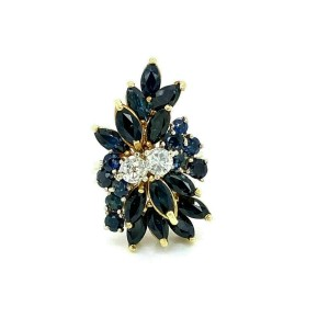 Estate 3.00ct Diamond Sapphire 14k Two Tone Gold Cluster Gems Ring