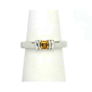 Di Modolo Citrine Gemstone 18k White Gold Stack Ring