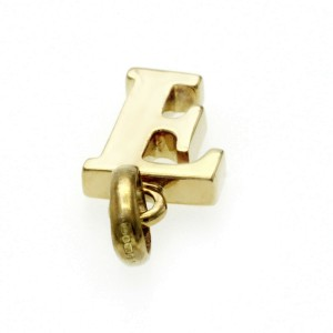 """Authentic Links Of London 18K Yellow Gold Letter """"F"""" Charm Pendant"""