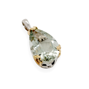 925 Sterling Silver and 14K Gold With Green Crystal Stone pendant