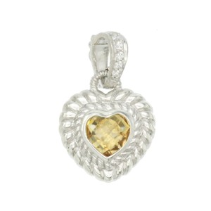 Authentic Judith Ripka 925 Sterling Silver Citrine Heart Pendant