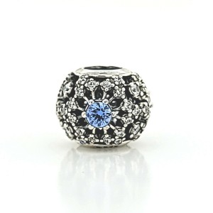 Authentic PANDORA 925 Sterling Silver Snowflake Blue and White CZ Bead