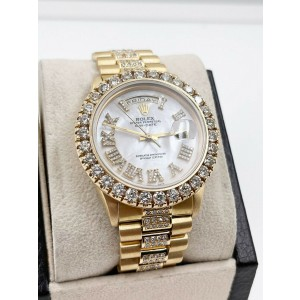 Rolex President Day Date 18238 White MOP Roman Diamond Dial Bezel and Band