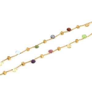 Marco Bicego Paradise Multicolor Gems 18k Yellow Gold Bead Necklace