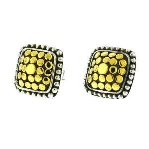 John Hardy Two Tone Dot Square Stud Earrings