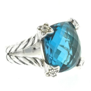 David Yurman Sterling Silver Blue Topaz Diamond Ring
