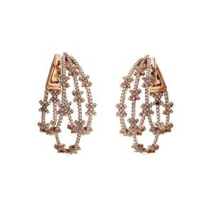 3.10 CT Diamonds in 14K Rose Gold 37.4 mm Height Snowflake Hope Earrings