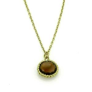 Roberto Coin Ipanema Smokey Quartz 18k Yellow Gold Pendant Necklace