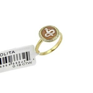 Ippolita Diamond Snake Cameo 18k Yellow Gold Round Ring