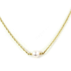 Mikimoto Akoya Pearl 18k Yellow Gold Solitaire Pendant & Woven Chain Necklace