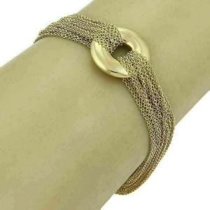 Tiffany & Co. 18k Yellow Gold Circle Charm Multi strand Chain Toggle Bracelet