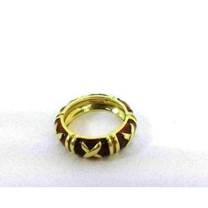 Hidalgo 18k Yellow Gold Red Enamel X Design Dome Band Ring