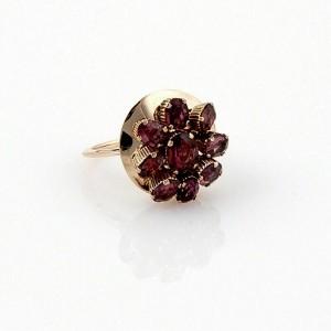 Vintage Circular Movable Pink Tourmaline 14k Rose Gold Cocktail Ring
