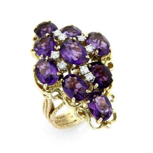 Large Amethyst & Diamonds 14k Yellow Gold Floral Cluster Ring