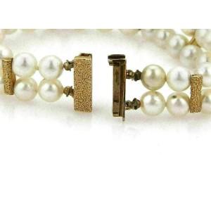 Double Strand 6mm 14k Yellow Gold Pearl Bracelet